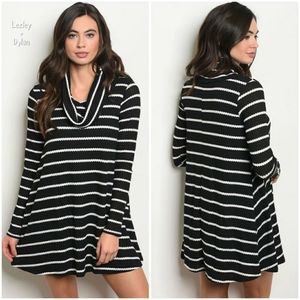 Black / White Waffle Knit Cowl Neck Trapeze Dress